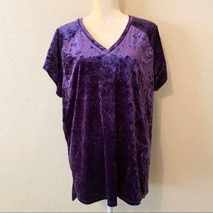 Ellos Purple Crushed Velvet V-Neck Tunic Top 18/20